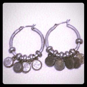 Jewelry - Matt Silver Earrings, hoops with wire snap closure